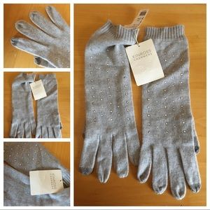 Gray Embellished Cashmere Gloves